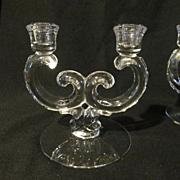 Fostoria Century Double Candle Holders, Set