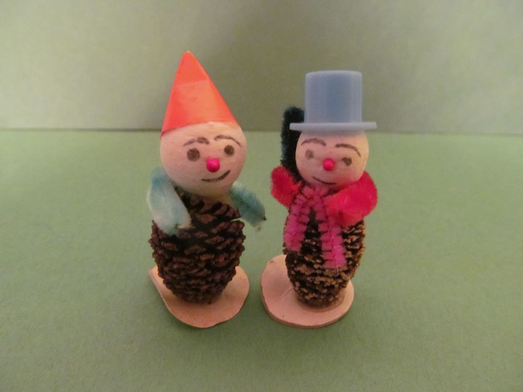 Elf & Snowman Pinecone, Chenille, Card Board Christmas Figures