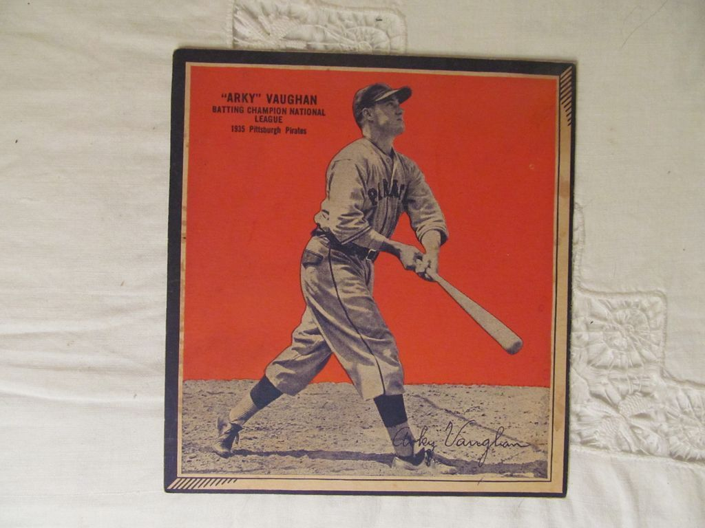 1936 Arky Vaughn Wheaties Baseball Panel Card, Pittsburgh Pirates