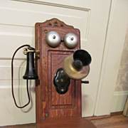 Early Kellogg Tiger Oak Wall, Hand Crank Telephone, Nice!