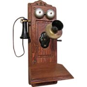 Early Kellogg Tiger Oak Wall, Hand Crank Telephone, Nice!