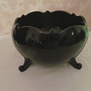 LE Smith Mt Pleasant Black Glass Large Rose Bowl