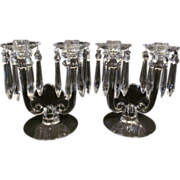"Heisey Toujours  8"" Candle Holder Set, Prisms"