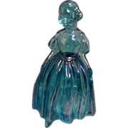 Wheaton Blue Carnival Glass Girl Figurine