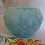 Fenton Water Lily Blue Satin Custard Rose Bowl, Paper Label