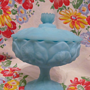 Fenton Water Lily Blue Satin Custard Compote