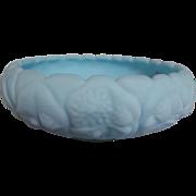 "Fenton Water Lily Blue Satin Custard 8 1/2"" Cupped Bowl"