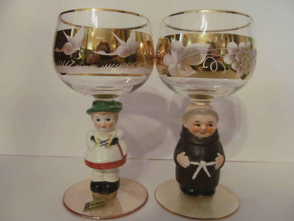 2 German Character, Figural Goblets, Monk & Girl