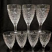 7 Fostoria American Water Goblets, Hex Foot