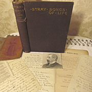 1889 Stray Songs of Life by Divie Bethune Duffield, Signed Copy with Paperwork of Original Handwritten Poetry,Publication Announcement and Photos