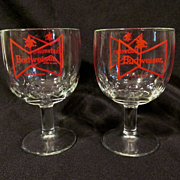 Bud Budweiser Bow Knot, Thumbprint Barware Goblets