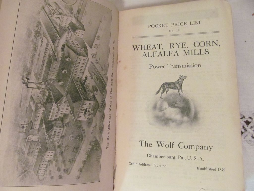 Early 1900's, The Wolf Company Catalog.. Wheat, Rye, Corn, Alfalfa Mills..Power Transmission, Illustrated