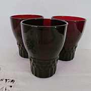3 Hocking Windsor Ruby Red Juice Tumblers