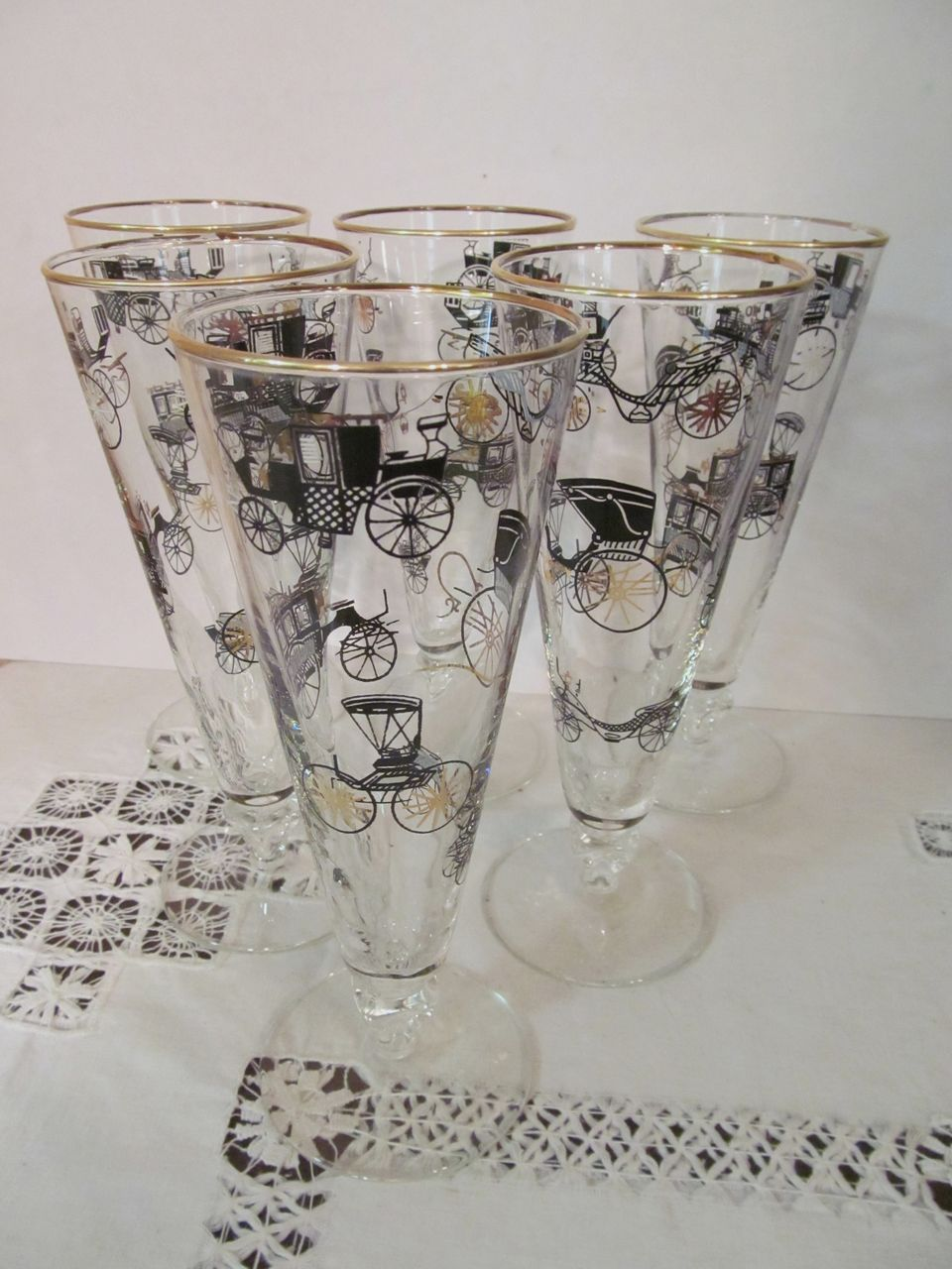 6 Libbey Barware Glasses, Mid Century, Cars, Automobiles