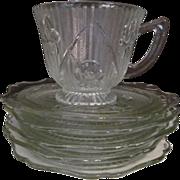Iris & Herringbone Cup & Saucer + 4 Saucers