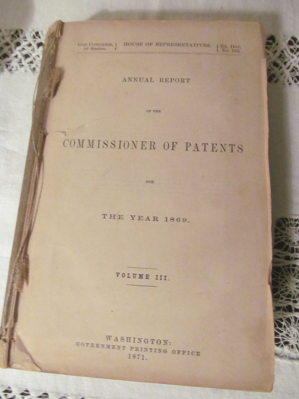 1869 Annual Commissioner Patent Report, Illustrated
