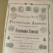 Early Ferdinand Ernecke #18 Scientific Instruments Catalog, Price List, German