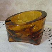 Mid Century Retro Amber Glass Ashtray