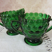 Forest Green Bubble Creamer & Sugar Set, Hocking