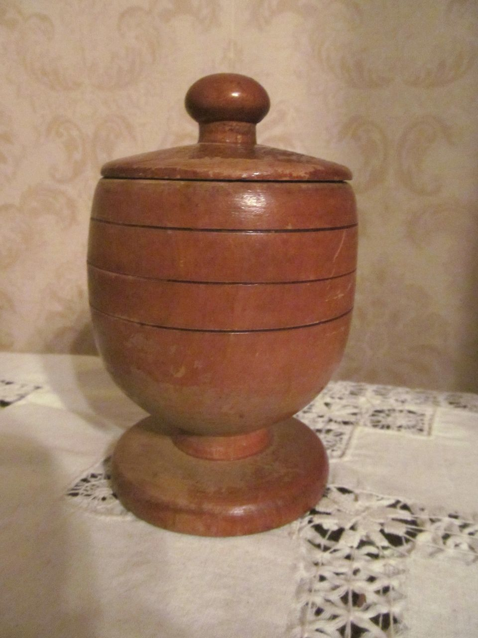 Wood Turned Covered Jar, Incised Bands, Dated 1946