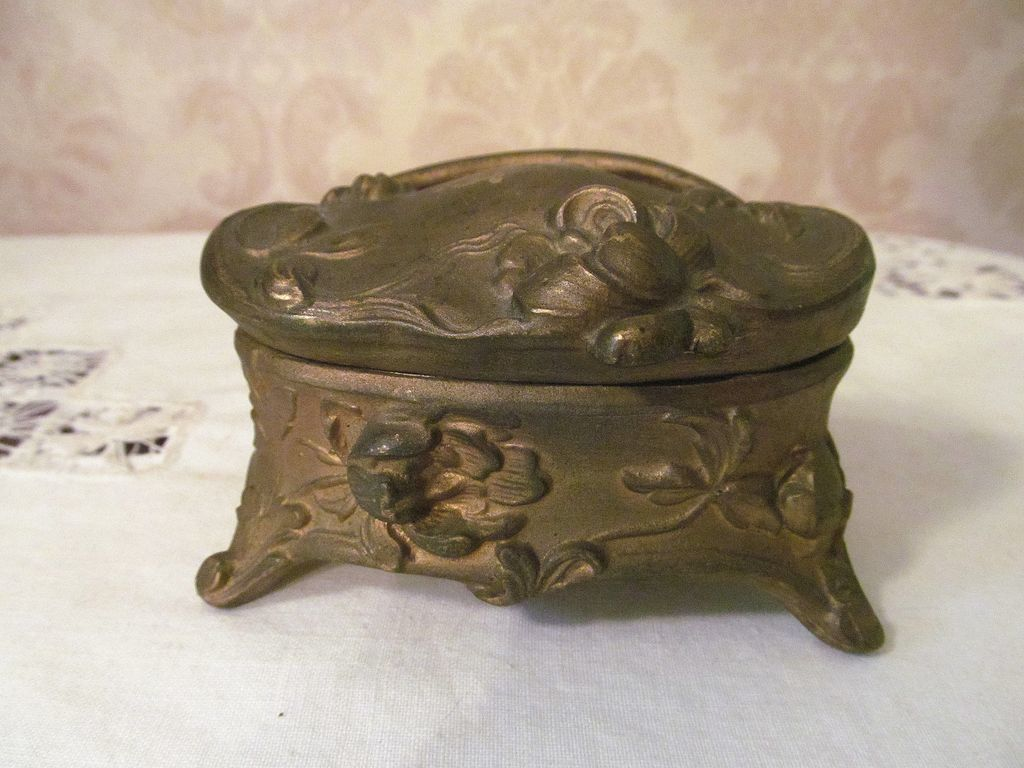 Art Nouveau Metal Vanity Trinket, Jewelry Box