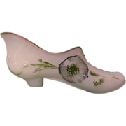 Victorian Milk Glass, Opaque Low Heel Shoe with Florals, Hand Painted