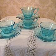 4 Hazel Ware Blue Capri Octagonal Cups & Saucers + 4 More