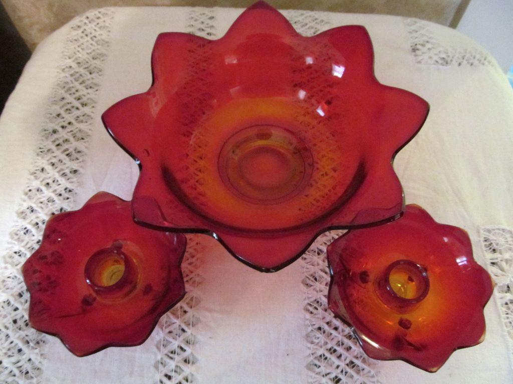 Fenton Amberina Flared Bowl & Candle Holder Set