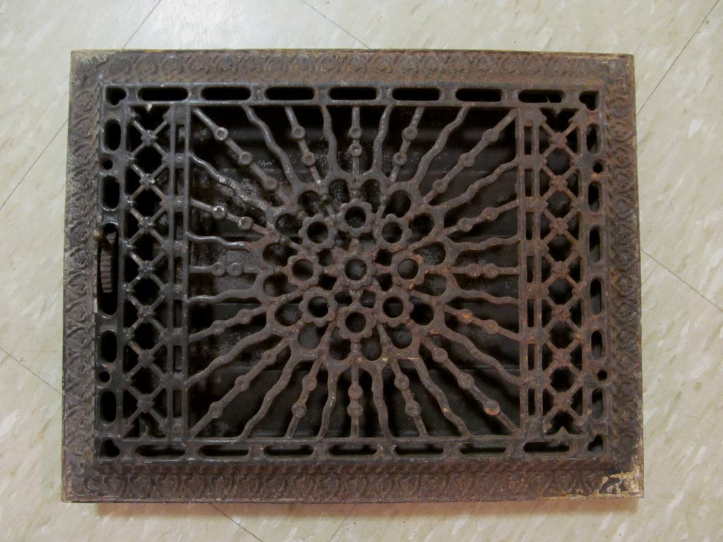 1886 Cast Iron Sunburst Floor Wall Complete Heat Register + 1 More