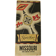 1930's DX Diamond 760 Motor Oil, Missouri State Map; Cities Road Map