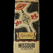 1930's DX Diamond 760 Motor Oil, Missouri State Map; Cities Road Map