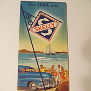 1940's Skelly Oil Company Iowa State & City Road Map