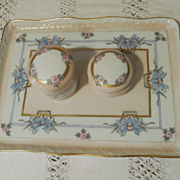 Hand Painted 5pc, Jars, Tray Vanity Set, B & Co, France