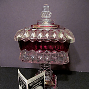 Westmoreland Ruby Stained Crystal Wedding Bowl Compote with Pamphlet