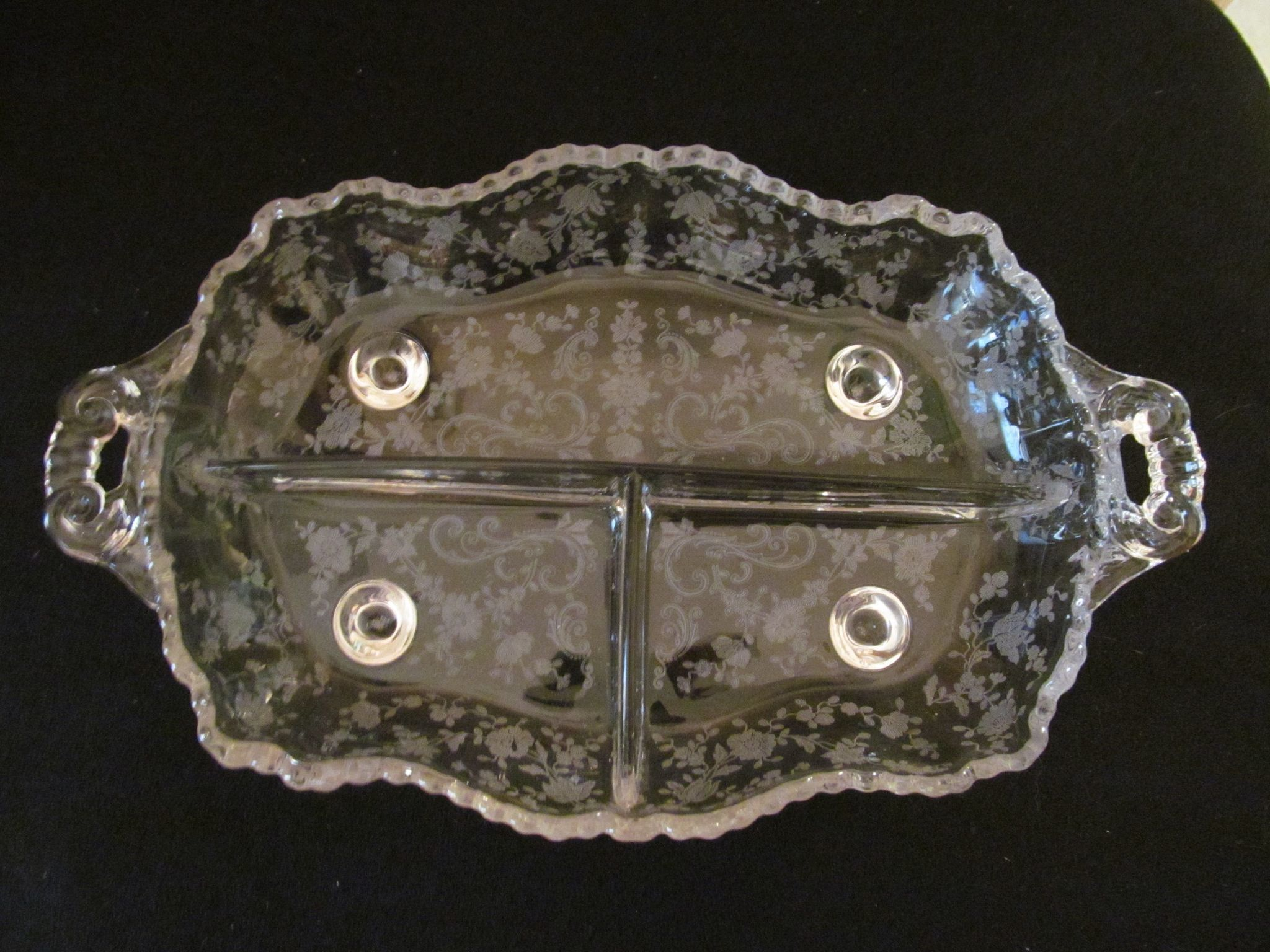 Cambridge Chantilly Etch 3 Part Footed Relish Dish