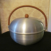 Mid Century Mirro Spun Aluminum & Wood Bread, Bun, Biscuit Steamer with Insert