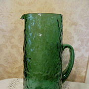 "Morgantown Emerald Green 11"" Crinkle Winkle Pitcher"