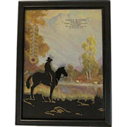 Advertising Silhouette Thermometer, Monmouth Illinois, Cowboy Western Theme