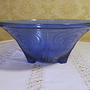 "Royal Lace Cobalt Blue 3 Footed 10"" Bowl by Hazel Atlas"