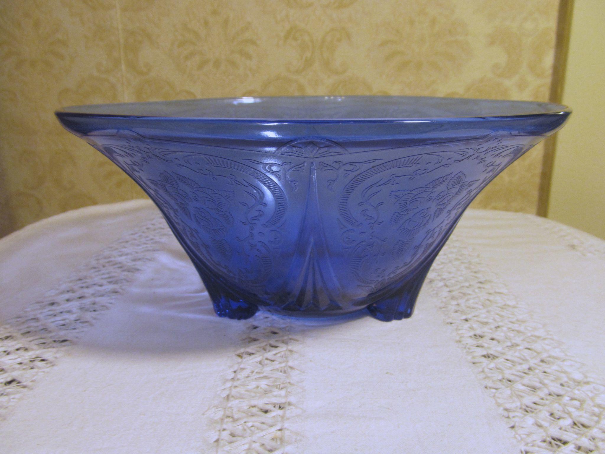 "Royal Lace Cobalt Blue 3 Footed 10"" Bowl by Hazel Atlas"