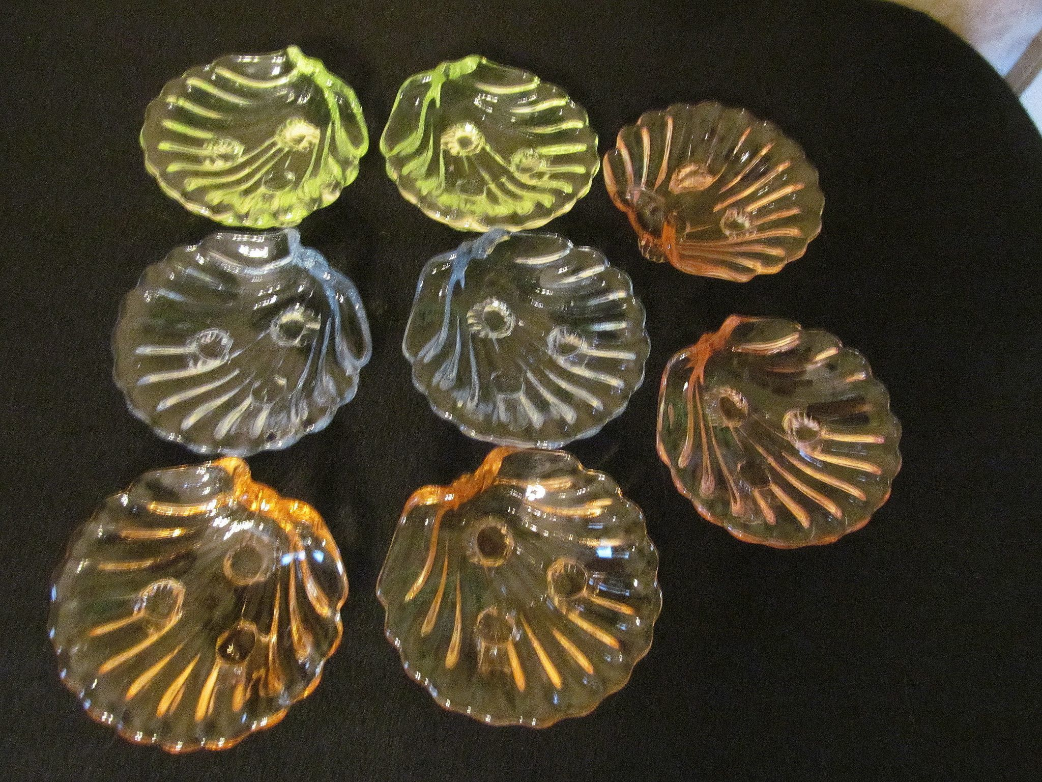 8 Cambridge Caprice Shell Ashtrays, Nut Dishes, Blue, Yellow, Amber, Pink