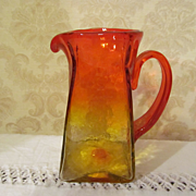 Blenko Acid Etched, Tangerine, Wayne Husted Pitcher, 1958-61