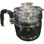 Pyrex 6 cup Blue Tint, Flameware, Stove Top Coffee Pot #7754-B, Complete
