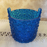 Fenton Blue Daisy & Button Bucket Jar, Dish