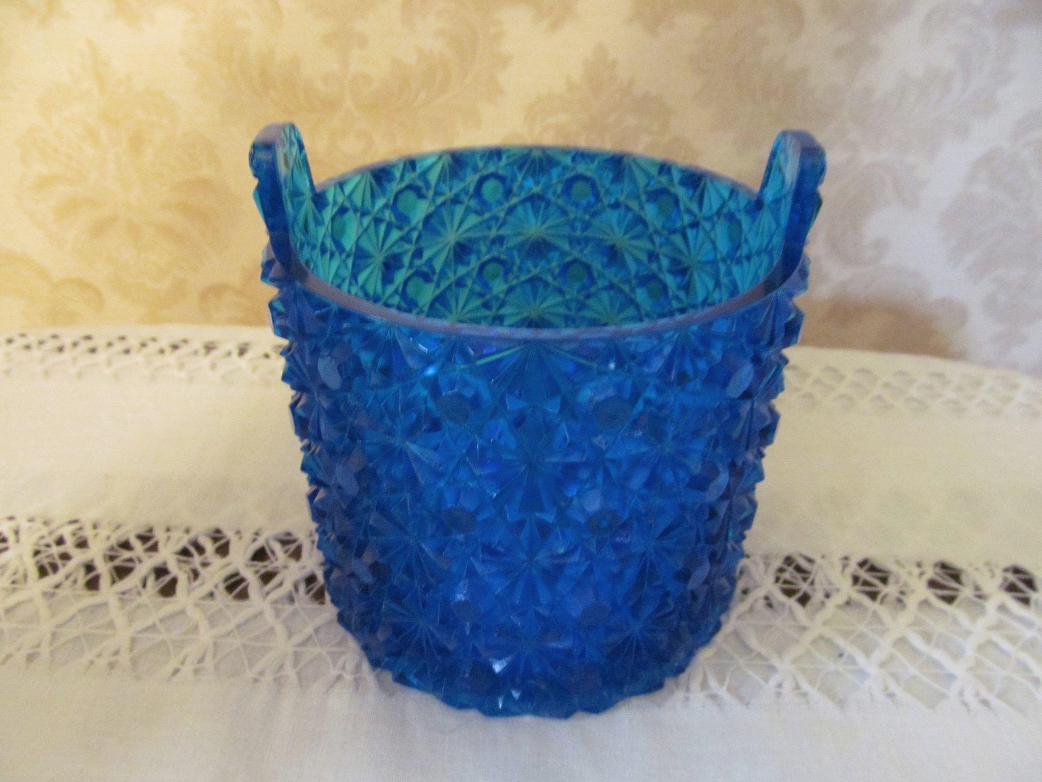 Fenton Blue Daisy & Button Bucket Jar, Dish