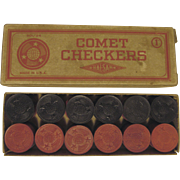 Comet Wood Checkers with Box by Halsam