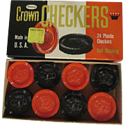 Crown Plastic Stackable Checkers by Whitman with Box #4413