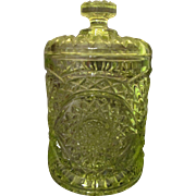 Imperial Glass Canary Yellow Biscuit Jar, Humidor