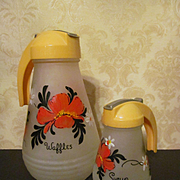 Hazel Atlas Waffle BatterJug Pitcher and Syrup