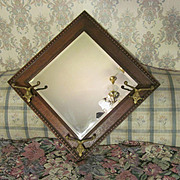 Antique Solid Tiger Oak Bevel Wall Mirror, Hat Hooks